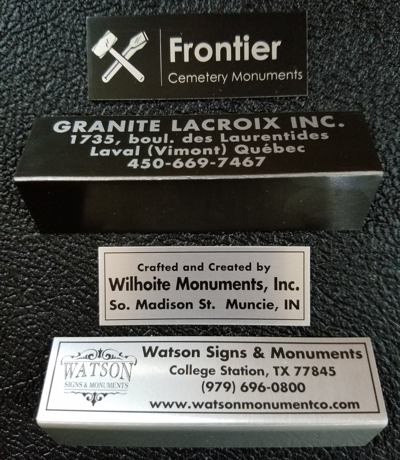 annodized aluminum monument name plate in black or silver
