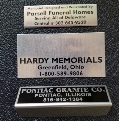 annodized aluminum monument name plate in sterling silver