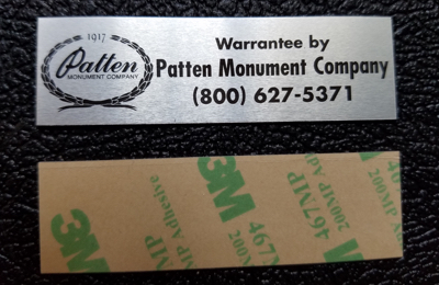 flat monument name plate with 3M adhesive
