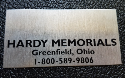 Metal monument name plate - Style A black letters