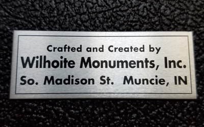 Metal monument name plate - style B black letters