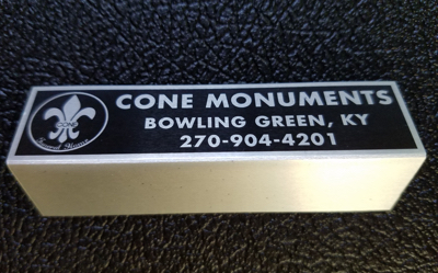 Metal monument name plate - style C black letters