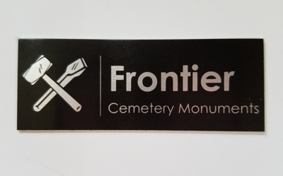 Metal monument name plate - style D black letters